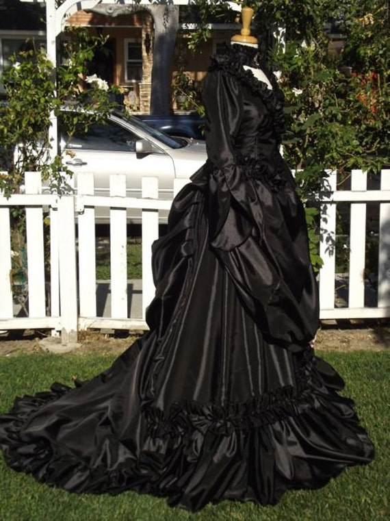 Items similar to gothic mina victorian bustle gown wedding for Victorian bustle wedding dress
