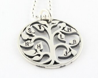 Mother's Day Gift for Mom - Custom Personalized Tree of Life Necklace - Initials On Leaves - Handstamped Sterling Silver Gift for Mothers