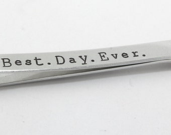 Best Day Ever Tie Bar - Wedding Tie Bar - Personalized Tie Bar - Silver Tie Bar - Groom Tie Clip - Men's Custom Tie Bar - Groom Tie Bar