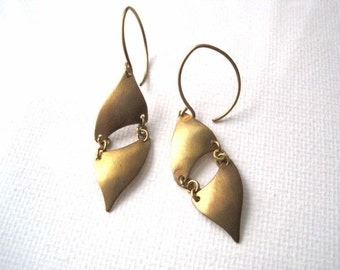 Hinged Brass Curved Triangle Earrings
