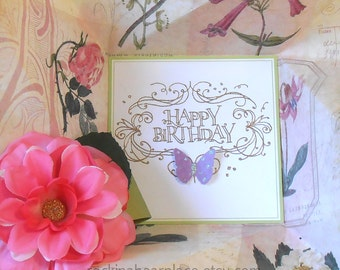 Folded Pinwheel BIRTHDAY Card  in purple and pink, with floral theme, perfect for the gardener