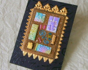 ACEO - Elegant Microbead Original Collage Art Card with polymer clay tiles