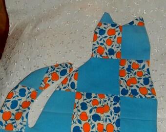 PATCHWORK QUILT CAT Vintage quilt top Ooak Cat applique or Pillow Cover For Diy Cat Pillow