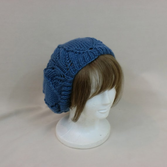 Blue Slouchy Beanie Lace Hat Baggy Knit Large Slouch Tuque