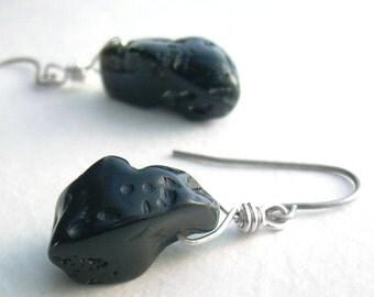 Blob Tektite Earrings, Meteorite Impact, Black Molten Glass, Science Jewelry