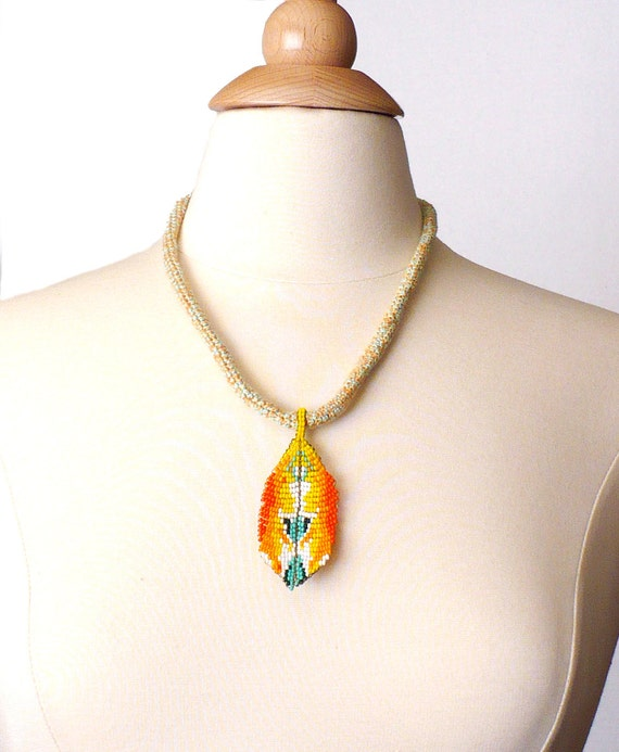 Crochet Necklace Icord Rope Necklace Turquoise Yellow Orange Bamboo with Beaded Leaf