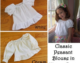 Baby Toddler Girl Classic Ruffled Peasant Blouse - 3 mos to size 10 -  WHITE or CREAM cotton - optional sleeve length