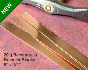 """1/2"""" Copper Rectangle Bracelet Blanks 6 x 1/2 inch, 20 gauge, Pro Polish pad included when you buy 3 or more"""