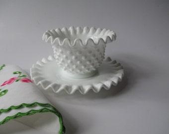Vintage Fenton Milk Glass Hobnail Mayonnaise Set - Cottage Chic
