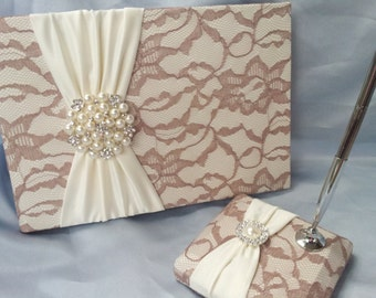 Latte Lace Wedding Guest Book and Pen Set Ivory Taupe Bridal Lace Pearl Rhinestone Accent Unique Latte