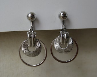 Silver Modern Earrings Screw Vintage Dangle