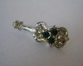 Guitar Tie Tack Rhinestone Green Vintage Pin