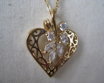Heart Necklace Gold Filigree Clear Crystal Vintage