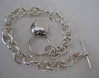 Heart Sterling Silver Bracelet Vintage 925 Chain Link