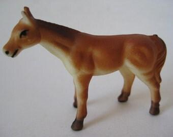 Horse Figurine Brown Plastic Vintage Miniature