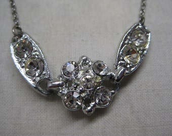 Rhinestone Silver Necklace Vintage Clear