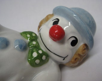Clown Ceramic Figurine White Blue Fitz Floyd Miniature Vintage