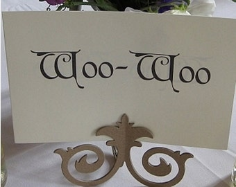 wedding table number holder chipboard fancy scrolls chipboard die cut wedding easel place card holder no 30c set of 3 pcs kraft easel