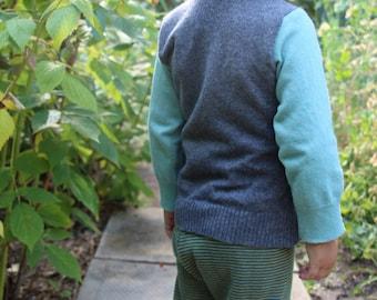 Baby Wool Shirt Top Sweater - Envelope Collar - Merino Wool Children's Shirt - Custom MEADOWLARK  - Sizes 3 to 24 Months - Custom Color