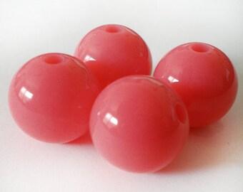 16mm Bright Salmon Pink acrylic beads - 6pcs