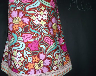 Lace Detail A-line SKIRT - Amy Butler - Made in ANY Size - Boutique Mia