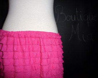 BUY 2 get 1 FREE - Ruffle Skirt - Hot Pink - Made in ANY Size - Boutique Mia