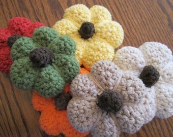 Crochet Pumpkin - Fall Thanksgiving Decor Amigurumi - medium size