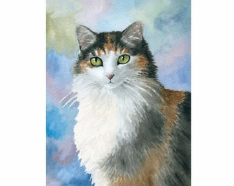 Fridge Magnet Print ACEO from my original painting Cat 572 Calico by Lucie Dumas