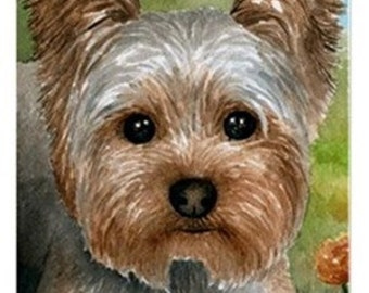 Fridge Magnet Print ACEO from my original painting Dog 117 Yorkshire by Lucie Dumas