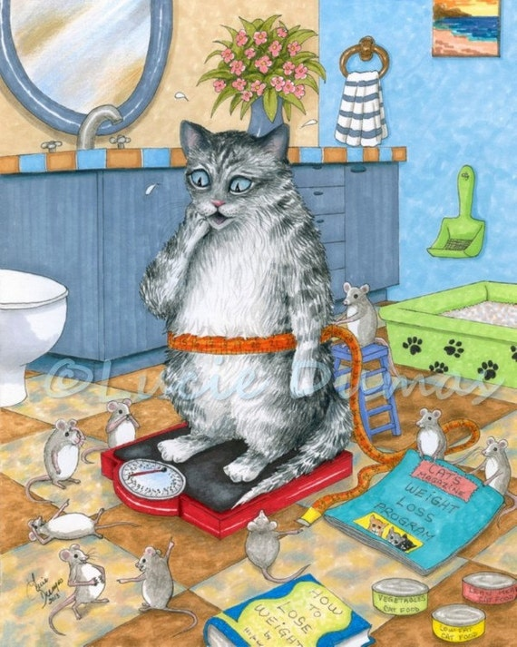 Art Print 8x10 From Funny Bathroom Art Painting Cat 579 Mouse