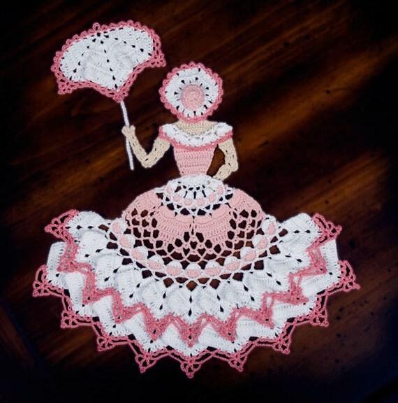 0743 Miss Charlotte Crinoline Girl Doily By Crochetmemories