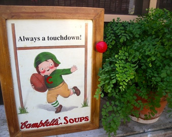 "WaLL CABINET tin sign  ""Always A Touchdown!--Campbell's Soups""--wonderful spice cabinet cupboard-aWeSoMe"