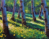 Spring Greens 24x48 Original LARGE Oil Painting Impressionism forest nature Aspens Birch trees by Carl Bork