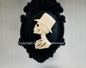 Mr. Skeleton Black Ornate Victorian Necklace - Ivory Black Skull Day of the Dead Cameo 40x30mm