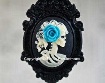 Miss Skeleton Black Ornate Victorian Necklace - Ivory Black Lolita Skull Skeleton Girl Cameo 40x30mm