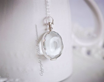 Scalloped Oval Antique Glass Locket Necklace - Handcrafted Sterling Silver Pendant - Insurance Included
