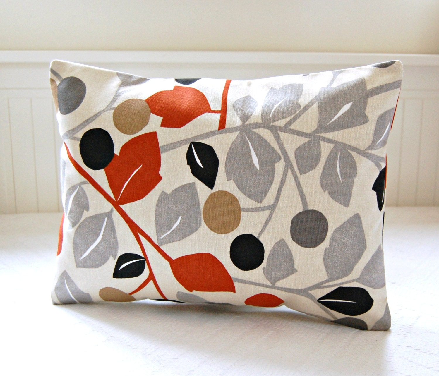 REDUCED TO CLEAR burnt orange gray decorative pillow cover