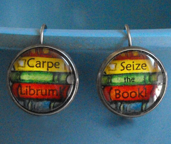 Carpe Librum Seize the Book Earrings Bookish Jewelry