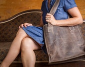 rough and tumble brown repurposed leather tote