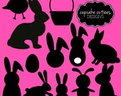 Easter Silhouette Bunny Rabbits  Element Clip art Digital  Commercial use Instant Download