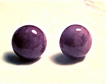Round Purple Stone Pierced Earrings