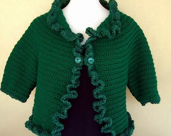 Emerald Green Crochet Shrug Bolero Evening Prom Bridal Wrap Sparkle Ruffle Edge