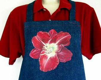 Red Daylily Apron Hand Painted Flower Denim Garden Kitchen Superlative Daylily