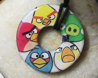 ANGRY BIRDS Collage Upycled Papers Washer Hardware Pendant Necklace Unique Gift
