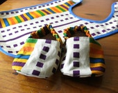 African Ankara kente print Baby gift pack of bib and booties