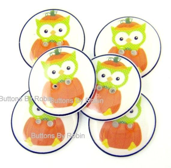 """Halloween Buttons. 3/4"""" or 20 mm Halloween Pumpkin Owl Handmade Buttons.  6 sewing buttons."""