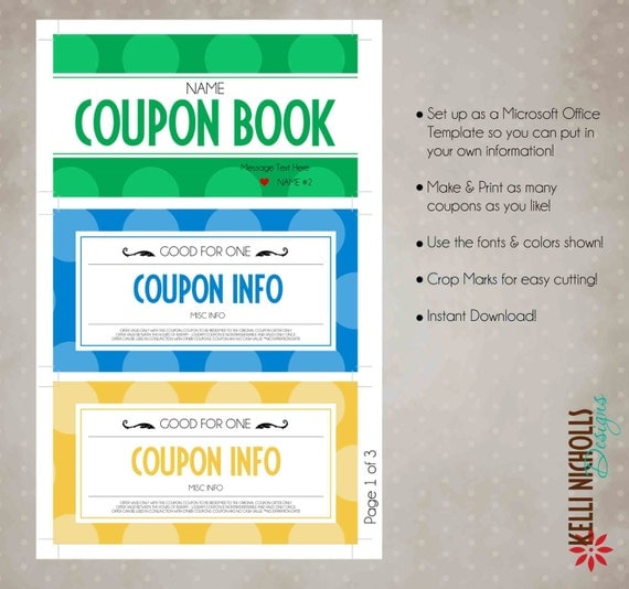 Kelli nicholls designs custom anniversary gift coupon for Coupon book template for husband