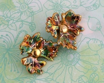 Vintage Maple Leaf Earrings Multicolored