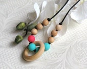 Nursing Teething Necklace with Light Blue and Coral Chew Silicone Beads