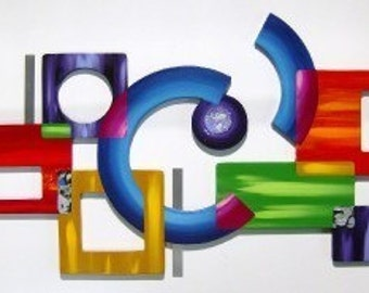 NEW BOLD Vibrant Contemporary Modern Abstract Art Geometric Wood Wall Sculpture Hanging with Metal accents,  45 x 19